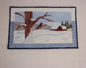 Snow Scene in the Country quilted wall hanging, fiber art, wall decor, wall hanging, landscape quilt