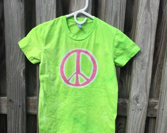 Peace Sign Shirt, Womens Peace Sign Shirt, Ladies Peace Sign Shirt, Green Peace Sign Shirt, Pink Peace Sign, American Made Ladies Shirt (M)