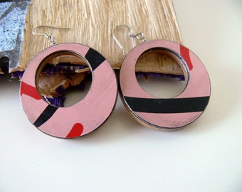 Recycled Skateboard Pink, Red and, Black Graphic Hoop Earrings