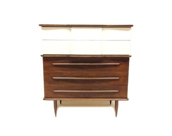 Vintage MCM Highboy In Wood and White