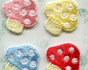 Mushroom Patch - Embroidered Iron On Patch, Kawaii Japanese Iron on Applique, Natural,  Botanical, Colorful Embroidery Applique, 4PCS, W340