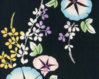Japanese Tenugui Towel Cotton Fabric, Morning Glory, Floral Design, Summer Flower, Hand Dyed Fabric, Art Wall Fabric, Home Decor, wf083