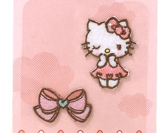 Hello Kitty & Cute Ribbon Bow Patch, Kawaii Sanrio Embroidered Iron On Patch, Japanese Cute Pink Iron on Applique, Embroidery Applique, W221