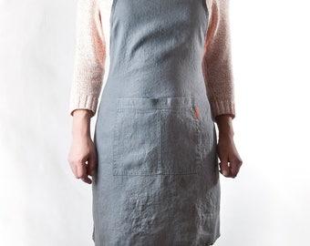 Linen Apron, Full Bib Apron. 100% medium weight Linen. Asphalt color. Stonewashed Soft linen.