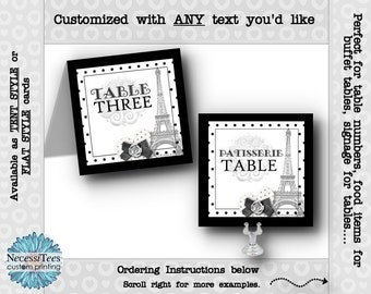 Table Number Cards, Food Labeling, Table Signs, Wedding, Rehearsal Dinner, Shower, Birthday, Eiffel Tower, French, Parisienne, Black & White