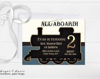Train Birthday Invitation, Vintage Train Invitation, Boy Birthday Invitation, Choo Choo Birthday Invitations, Kids Birthday Invitation