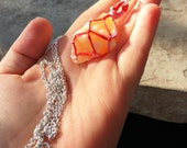 Orange Calcite, Macrame Crystal Necklace, Orange Crystal Necklace, Calcite Crystal Necklace Pendant, Handmade Crystal Healing Necklace