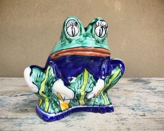 Vintage Talavera planter toad, frog planter, Mexican folk art, frog decor, ceramic planter, Mexican pottery, frog lover, gift for gardener