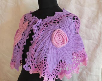 Boho Colorful Freeform Crochet Cowl Scarf Capelet Neck Warmer, Multicolor crochet scarf, Pink Lilac cape, Flower scarf shawl, ready to ship