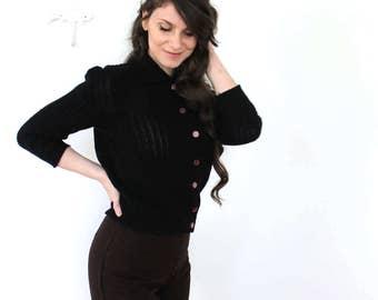 Black 1950s Cardigan / 50s Black Knit Cardigan