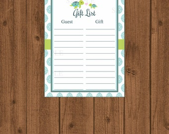 Turtle Baby Shower Gift List, Turtle Printable Baby Shower, Instant Download