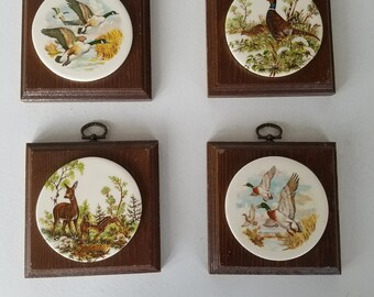 70's Wood and Ceramic Wall Plaques- Set of Four