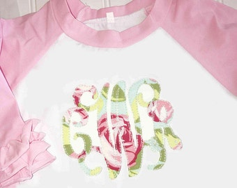 Girls Pink Ruffle Raglan Shirt, Monogrammed Ruffle Raglan, Personalized Girls Shirt, Girls Appliqued Shirt, Amy Butler Love Roses, Baby Girl