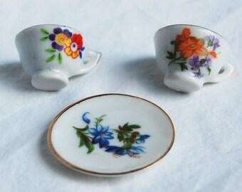 High Tea Porcelain / Bone China Miniatures - 2 Tea Cups & One Saucer or Sandwich Plate - Dollhouse Dinnerware