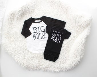 "Black and white ""big brother"" baseball t-shirt 