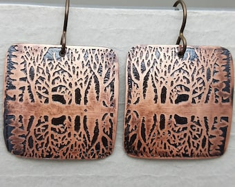 Etched Copper  Bare Trees Earrings