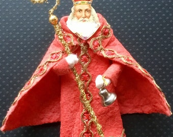 Vintage Look Cotton Santa Christmas Ornament-Cotton Batting Santa,German Scrap Santa,German Tinsel,Braiding Trim,Vintage Bell