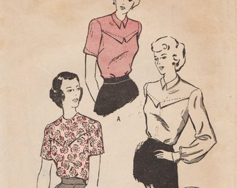 Butterick 4656 / Vintage 1940s Sewing Pattern / Back Buttoned Blouse / Size 18 Bust 36