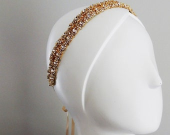 Ready to ship Gold Wedding bridal headpiece crystal headband headpiece satin ribbon vintage inspired art deco style