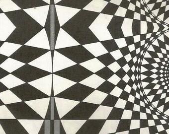 vintage 70s geometric optical illusion diamond pattern print book plate black white pop art design retro home decor mod picture spiral 9/10