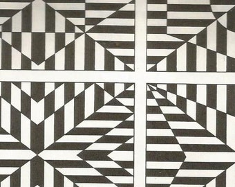 vintage 70s optical illusion graphic print pattern black white pop art design image retro home decor mod geometric striped drawing old 65/66