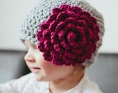 Textured Beanie with Peony (4 sizes) PDF CROCHET PATTERN (Instant Digital Download)