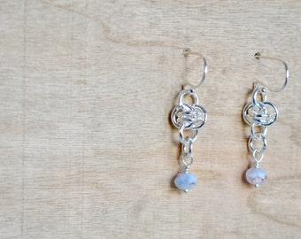 Chainmaille Beaded Earrings - Silver Earrings - Dangle Earrings - Dainty Earrings - Lilac Czech Beaded Earrings - By BALOOS