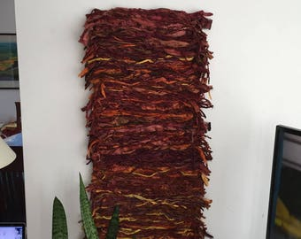 Fiber Art Wall Hanging, Red Orange Maroon Textile Art, Yarn Ribbon Wall Hanging, Silk Throw, Silk Yarn Art Tapestry, Free Form Wall Hanging