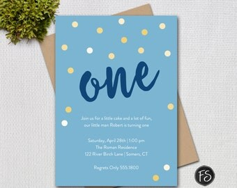 Boy's First Birthday Invitation, Navy and Gold Confetti, Script ONE, Printable Digital Invitation, 5016