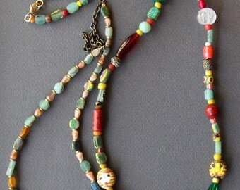 Colorful Ancient Roman Glass Necklace w Vintage Ethnic Glass and Yoruba Gold Washed Beads Free Bonus Necklace Artisan Jewelry