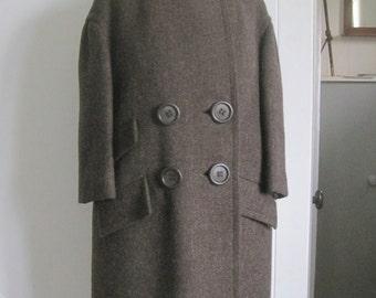 Vintage designer coat c1960, pure wool, 3/4 sleeve, made in Sweden.