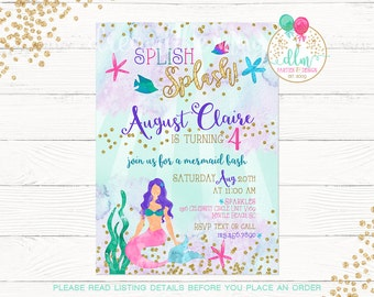 Mermaid Invitation, Mermaid Birthday Invitation, Under The Sea Party, Printable Invite, Birthday Invite, Under The Sea, Whimsical Mermaid