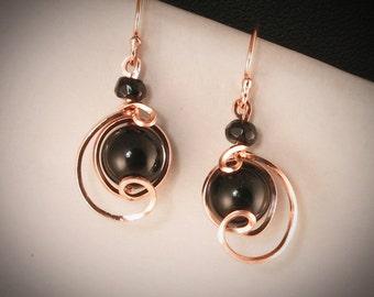 Black Onyx Rose Gold Small Drop Earrings, Unique Rose Gold Wire Wrapped Black Onyx Earrings, Black Jewelry, Rose Gold Earrings Jewelry