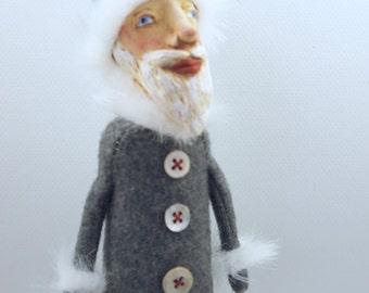 Folk Art Santa Doll cloth and clay Christmas Holiday #2