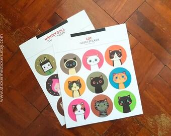2 SHEETS, Cat stickers, Cat Lover stickers, Kitten stickers, Cat Lady stickers, Cartoon stickers