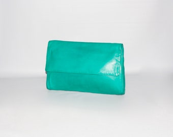 BOTTEGA VENETA Vintage Oversized Leather Clutch Teal Green Folding Tote - AUTHENTIC -