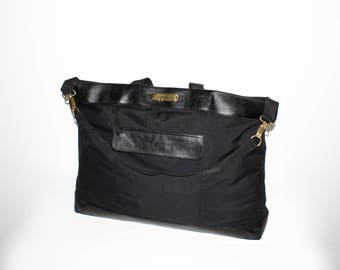 VINTAGE MOSCHINO REDWALL Travel Tote Black Leather Nylon Large Tote -Authentic -