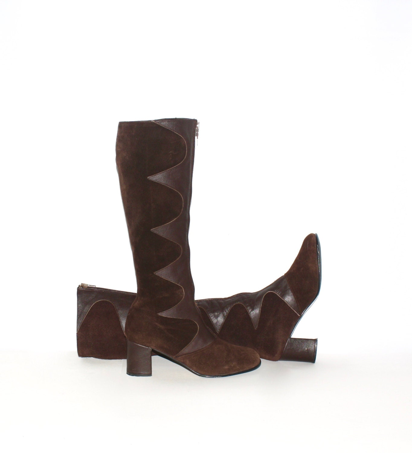vintage brown suede leather gogo boots wave zip by statedstyle