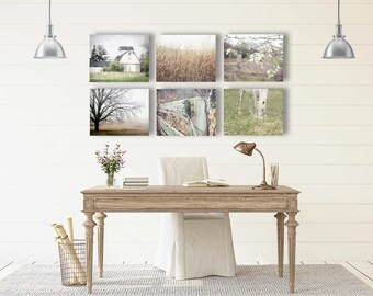 Rustic Country Landscape Prints or Canvas, Farmhouse Wall Decor, Rustic Wall Art Country Decor Fine Art Photography, Set of 6 Country Photos