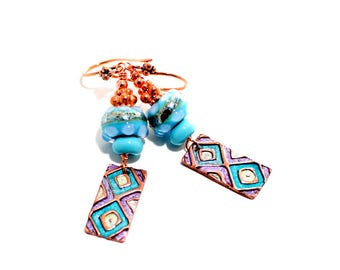 Tribal Glass Bead Earrings. Turquoise Boho Earrings. Painted Artisan Copper Charms. Dangle Earrings. Gifts For Her. Lampwork Jewelry.