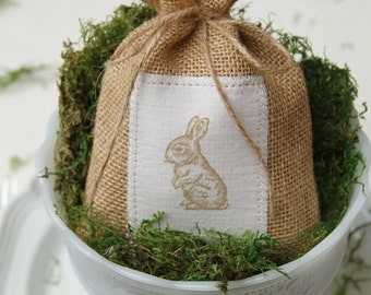 Burlap Favor Bags, Treat Bag, Set of 6, Easter, Table Setting, Bunnies, Rabbit, Baby Shower, Birthday Party, Easter Decoration, Centerpiece.