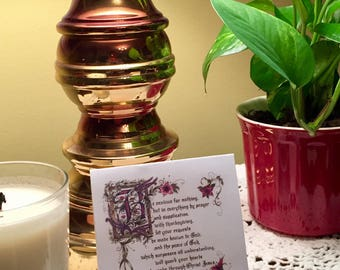 Blank Note Cards/6 with envelopes/Calligraphy/Scottish theme/Philippians 4:6-7/Celtic knot/Thistles/Lillies/Lavander/3x3 inches/notes