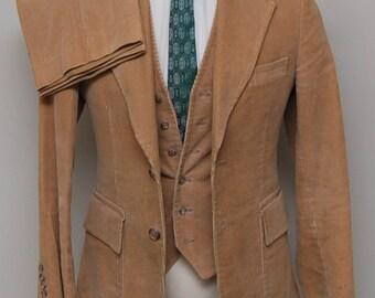 Vintage men's tan corduroy 3 piece suit/ Vint men's corduroy 3 piece suit/ Costume/ Garrison Park
