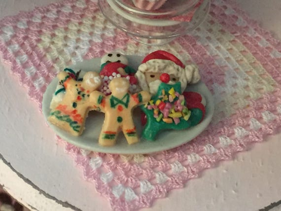 Miniature Cookies, Christmas Cookies, Cookie Platter, Style 5, Dollhouse Miniatures, 1:12 Scale, Mini Food, Sweets