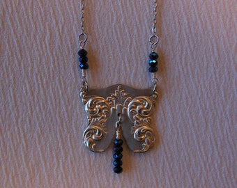 Midnight Blue and Silver  Freeform    Antique Fork Necklace
