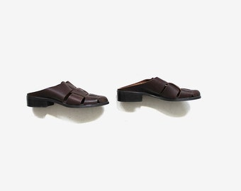 Vintage Leather Mules 8 / Brown Leather Mules / Leather Slides / Woven Leather Sandals