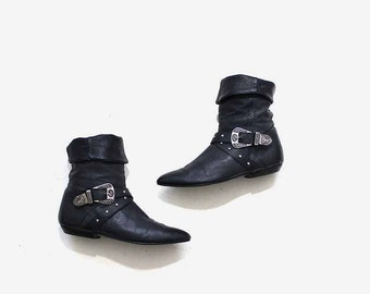 Vintage Ankle Boots 7 / Black Leather Boots / Cuffed Boots / Ankle Boots Women / Concho Boots