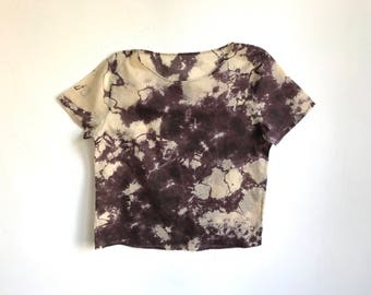 Black and Tan Graphic Hand Dyed Blouse  - M/L