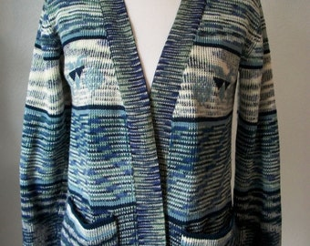 Marbled blue 70s lounge cardigan with pockets - size M/L