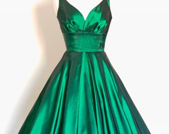UK Size 12 Emerald Green Taffeta Sweetheart Tea Dress - Made by Dig For Victory